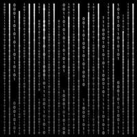 Black and White. Algorithm Binary Code with digits on background, encoding, decryptiondata code, matrix. Vector Illustration