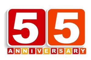 cincuenta y cinco 55 años signo de etiqueta de aniversario para su fecha. ilustración vectorial vector