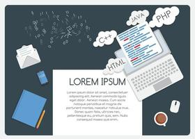 Abstract Background on Business Theme with Empty Place for Your Text. Programming Coding Flat Concept Vector Illustration
