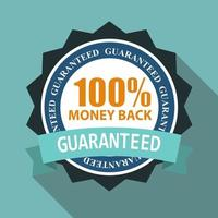 100 Money Back Quality Label Sign in Flat Modern Design with Long Shadow vector