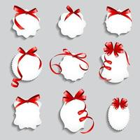 Price Tags with Red Bows and Ribbon Set. Paper Label  Design Vector Illustration