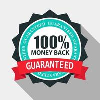100 Money Back Quality Label Sign in Flat Modern Design with Long Shadow. Vector Illustration
