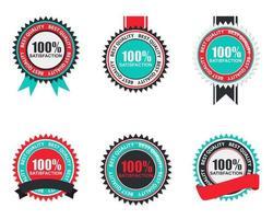 vector 100 etiqueta de calidad de satisfacción en diseño plano moderno. ilustración vectorial