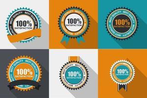 vector 100 etiqueta de calidad de satisfacción en diseño plano moderno con una larga sombra. ilustración vectorial