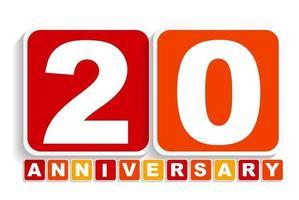 Signo de etiqueta de aniversario de veinte 20 años para su fecha. ilustración vectorial vector