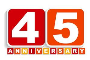 Forty Five Years Anniversary Label Sign for your Date. Vector Illustration