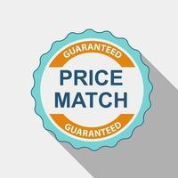 etiqueta de calidad de igualación de precio en diseño plano moderno con una larga sombra. ilustración vectorial vector