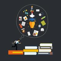 Learning, Training to  Make your Career Progress. Business Flat Vector Illustration