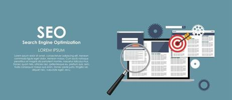 SEO Search Engine Optimazation Vector illustration. Flat computing background