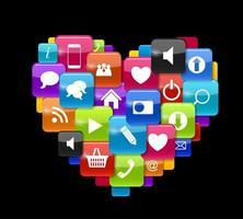 icono de botón de cristal en forma de corazón. ilustración vectorial vector
