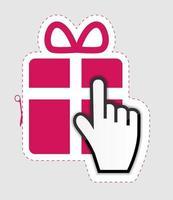 Cursor de la mano del ratón en la ilustración de vector de etiqueta adhesiva de regalo