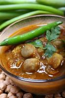 Indian spicy chana masala with raw chickpeas and green chilli topping photo