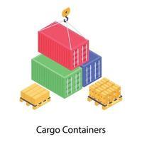 levantamiento de contenedores de carga vector