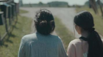Woman and girl walking in countryside watching letterboxes at fence video