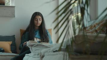 Girl reading book in corner of living room and looks through window video