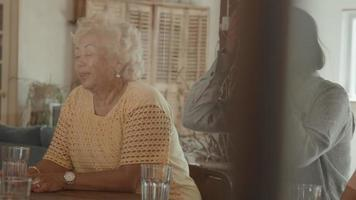 Two women talking and girl watching them sitting at table video