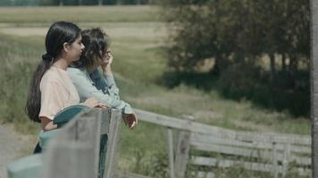 Woman and girl leaning on fence in the countryside talking and pointing video