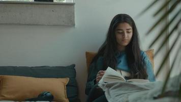Girl reading book in corner of living room video