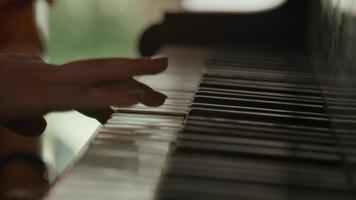 Hands of girl and woman touching keys of piano video