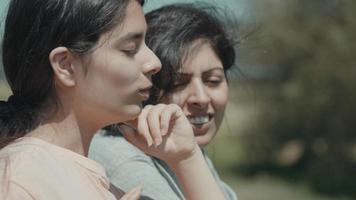 Woman and girl leaning on fence in the countryside talking video