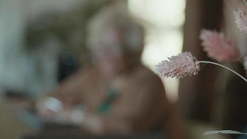 Dried flowers in front with two blurred women talking at table in background video