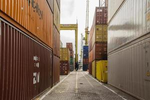 View of the containers at Montevideo sea port, Uruguay, 2017 photo