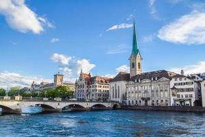A view of the Limago river and the historic buildings in the morning in Zurich, Switzerland on June 17, 2016 photo
