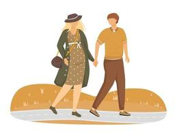 Pregnant woman and man walking in park flat vector illustration. Family preparing for parenthood. Strolling couple waiting of baby isolated cartoon characters on white background