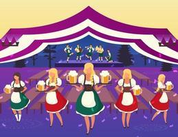 Ilustración de vector plano de Oktoberfest. actuación musical popular. Festival de cerveza. camareros con trajes nacionales que sirven bebidas. carpa de cerveza. volksfest, personajes de dibujos animados de camarera del festival de octubre