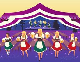 Oktoberfest flat vector illustration. Folk musical performance. Beer Festival. Waiters in national costumes serving drinks. Beer tent. Volksfest, october fest waitress cartoon characters