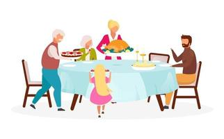 Thanksgiving day flat vector illustration. Fall holiday celebration. Annual festive meal. Celebrating harvest together. Family dinner with turkey isolated cartoon character on white background