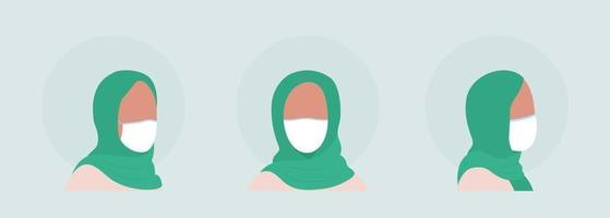 Arab women semi flat color vector character avatar with mask set