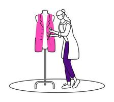 Fashion designer in atelier flat contour vector illustration. Sewing and reparing vest in studio isolated cartoon outline character on white background. Creating clothes at workshop simple drawing