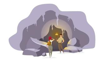 Explorers in cave flat vector illustration. Expedition group inside old mountain. Man standing with torch. Woman observing tunnel. Journey to ancient cavern. Tourists cartoon characters