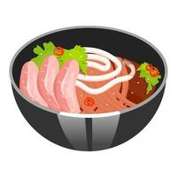 Noodle soup with sliced pork color icon. Asian dish in bowl. Eastern traditional cuisine. Ramen with meat chops. Chinese food with beaf and vegetables. Isolated vector illustration