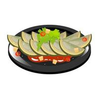 Chinese century egg color icon. Asian dish on black plate. Eastern traditional cuisine. Delicacy food with seasoning. Green dumplings with meat and vegetables. Isolated vector illustration