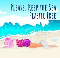 Keep sea plastic free social media post mockup. Dead mermaid on beach. Advertising web banner design template. Social media booster, content layout. Promotion poster, print ads with flat illustrations vector