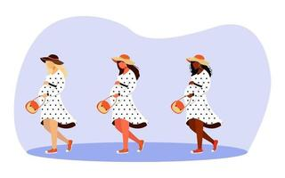 Walking pregnant girls flat vector illustrations set. Happy gestation time. Full length stylish women strolling and dreaming isolated cartoon characters on white background