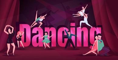 Dance word concepts flat color vector banner. Contemp, rumba competition. Typography with tiny cartoon characters. Tango, ballet, swing male and female dancers creative illustration