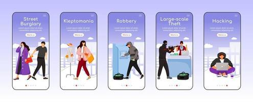 Criminal acts onboarding mobile app screen flat vector template. Property, money theft. Robbery. Walkthrough website steps with characters. UX, UI, GUI smartphone cartoon interface, case prints set
