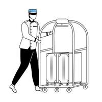 Porter flat vector illustration. Hotel service. Staff in uniform carrying guest baggage. Bellboy with suitcases. Bellhop with luggage cart. Bellman cartoon character with outline on white
