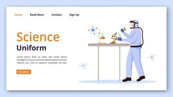 Science uniform landing page vector template. Protection suit for laboratory website interface idea with flat illustrations. Chemist equipment homepage layout, web banner, webpage cartoon concept