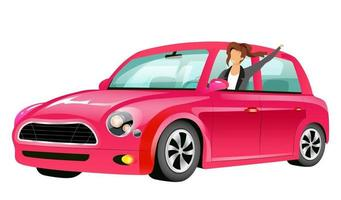 Girl driving pink mini cooper flat color vector faceless character. Smiling young lady in car isolated cartoon illustration for web graphic design and animation. Happy woman on road trip