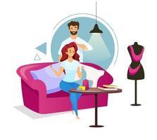 pareja en la ilustración de vector de color plano de estudio de costura. mujer haciendo ropa en el sofá. diseñador de moda creando prenda con colega. personaje de dibujos animados aislado sobre fondo blanco