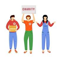 Volunteers collecting donations flat vector illustration. Slefless social activists isolated cartoon characters on white background. Public charity, fundraising campaign decorative design element