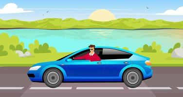 Young man driving sedan flat color vector illustration. Happy driver in blue car 2D cartoon character with lake landscape on background. Smiling guy in sunglasses on summer road trip