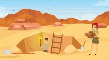 Excavation flat vector illustration. Archaeological site, man observe mural paintings. Sand desert. Egyptian wall pictures discovery. Ground hole in Africa. Expedition cartoon background