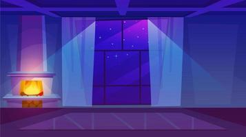 Fireplace in empty room flat vector illustration. Luxury house interior with panoramic windows and lightweight curtains. Burning firewood shedding soft light in dark living room. Stars in sky outdoors