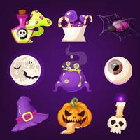 Halloween decoration cartoon vector set. Realistic spooky and scary items isolated on purple. Magic potion, treats, spider, pumpkin stickers. Witch hat, eye, skull and moon. Horror decor flat cliparts