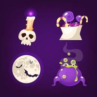 Halloween decoration cartoon vector set. Realistic spooky and scary items isolated on purple. Skull, sweets, moon and bats stickers. Witch cauldron with magic potion patch. Horror decor flat cliparts
